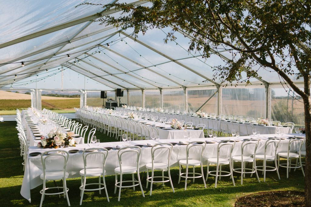 Marquee set up at Coriole winery wedding Mclarenvale