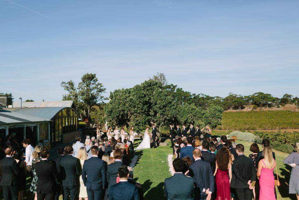 Coriole winery outdoor wedding ceremony