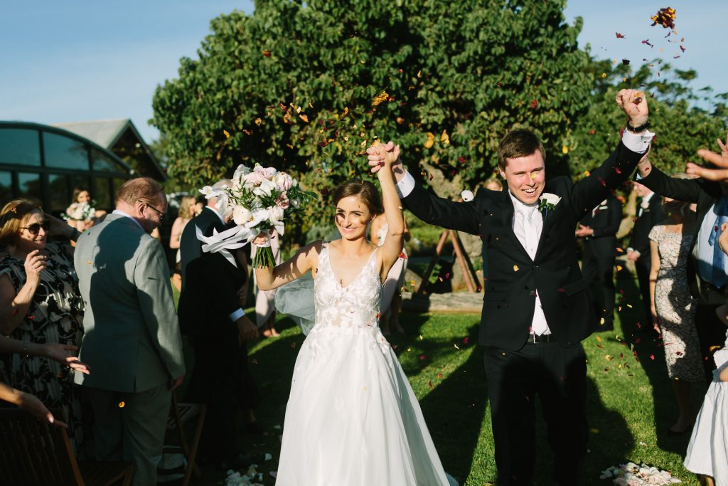 Happy bride and groom just married coriole winery wedding Mclarenvale