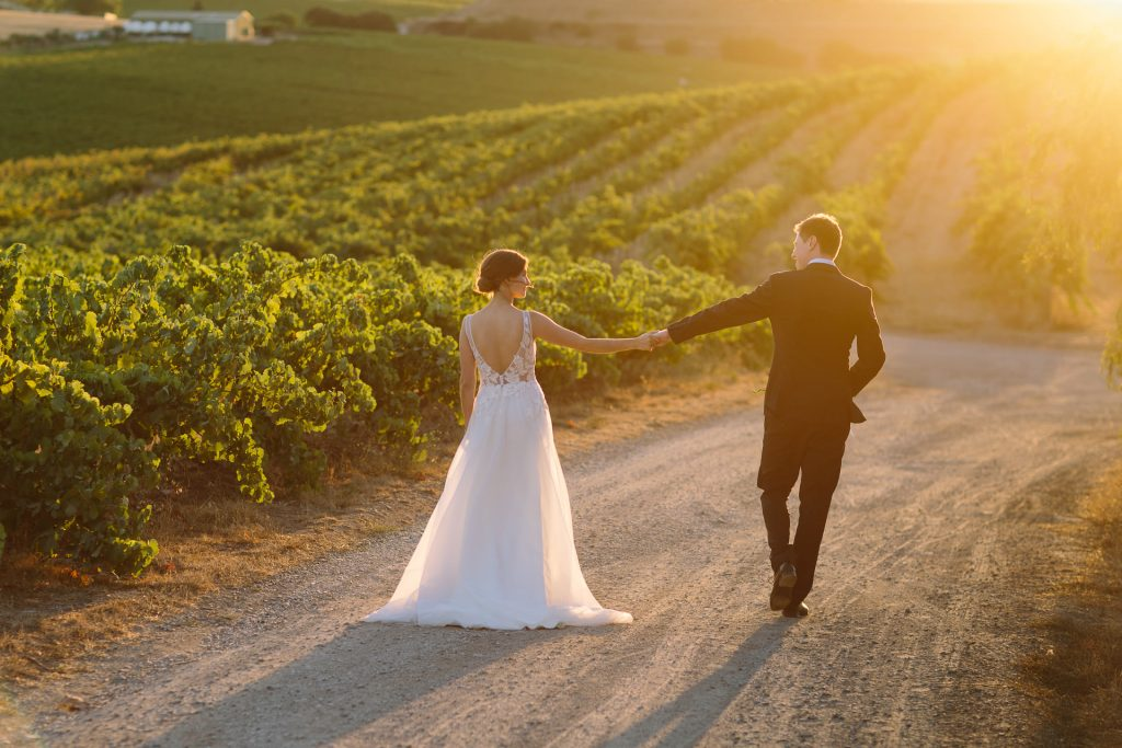 Bride and groom at coriole winery vineyards at dusk with beautiful light