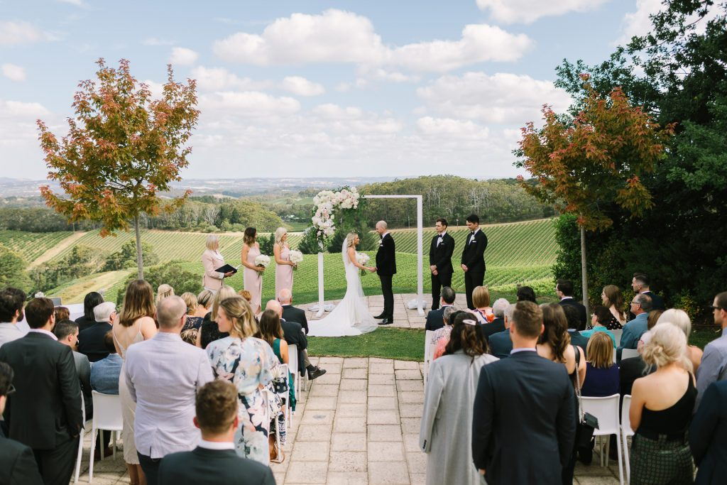 Wedding ceremony at Pike and joyce winery in the adelaide hills