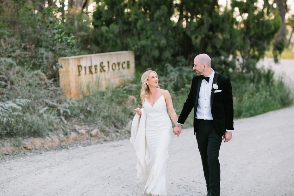 bride and groom location photos at pike and joyce winery in adelaide hills