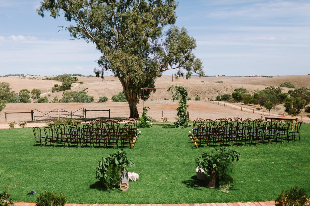 Kingsford Homestead wedding ceremony setup in the Barossa Valley